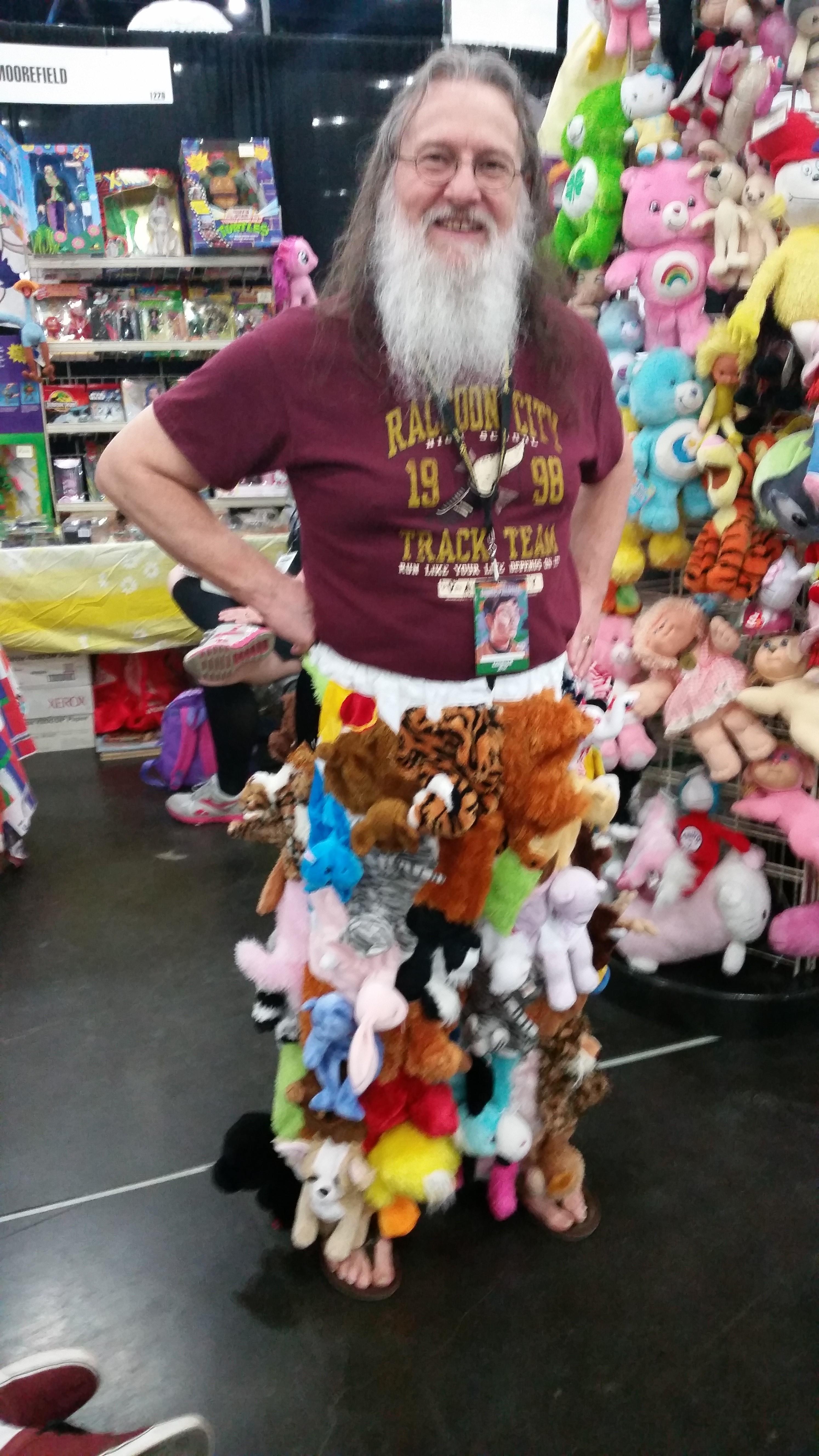 This vendor shows off his unique pants