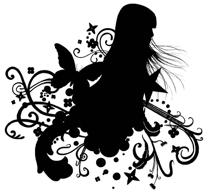 floral girl silhouette02