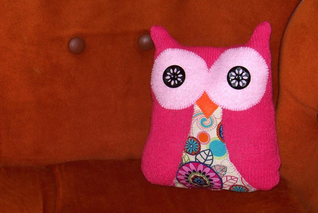 cute handmade pink owl plushie pillow