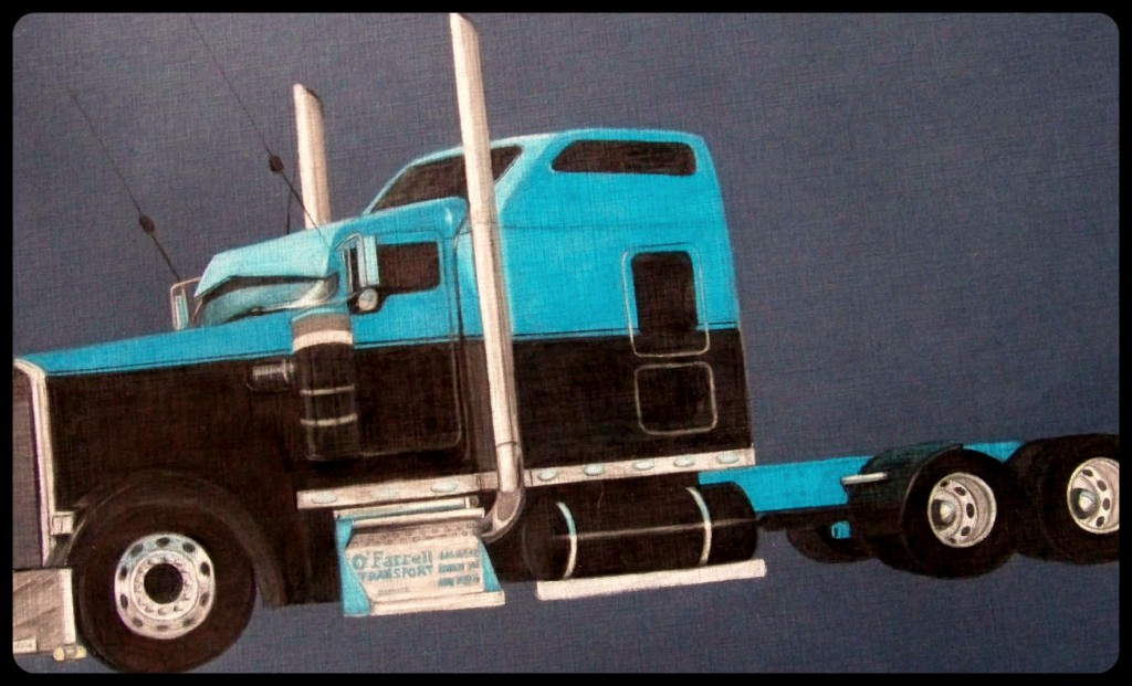 drawing of a blue truck using Prismacolor Premier Colored Pencils