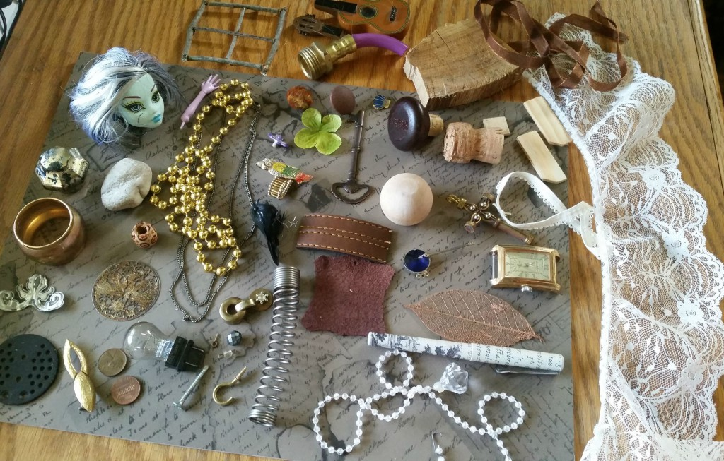 supplies for assemblage art — found objects and other doodads
