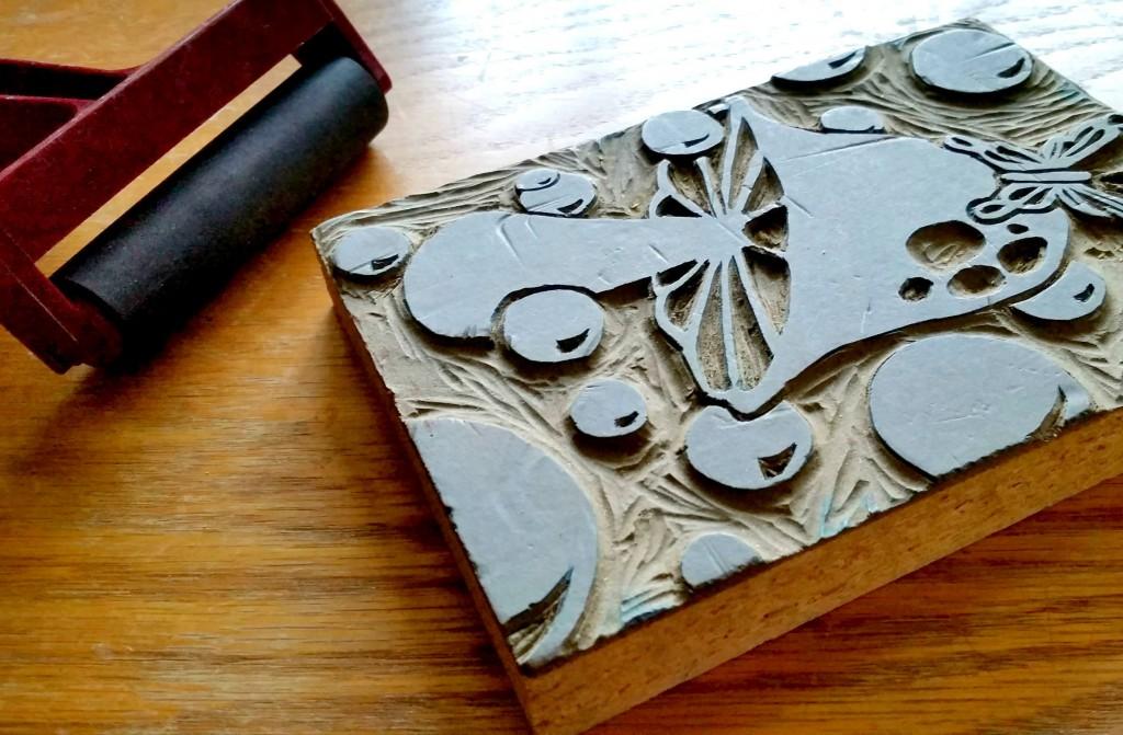 wood-pattern mushroom stamp