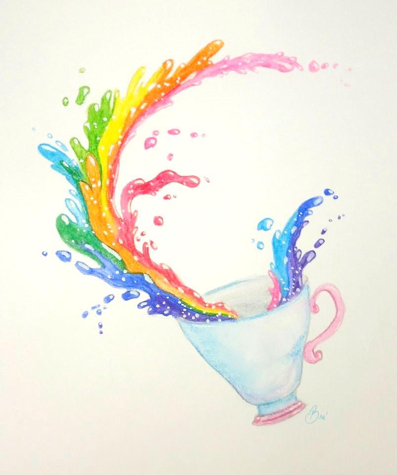 rainbow tea cup