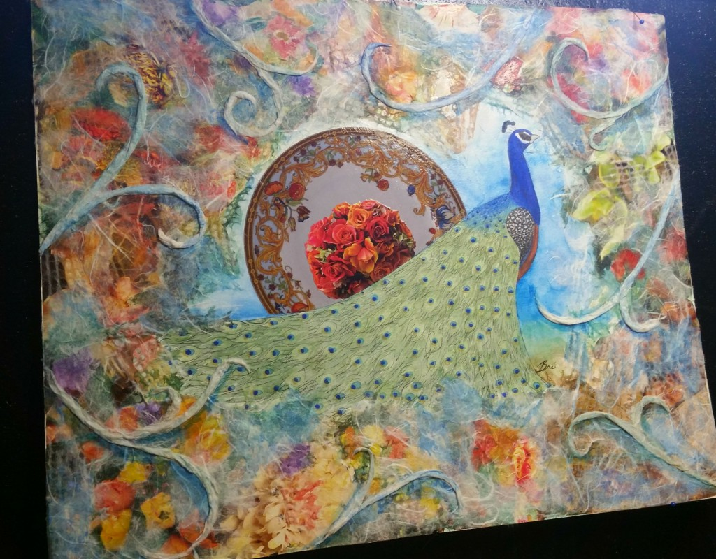 peacock watercolor collage on illustration board