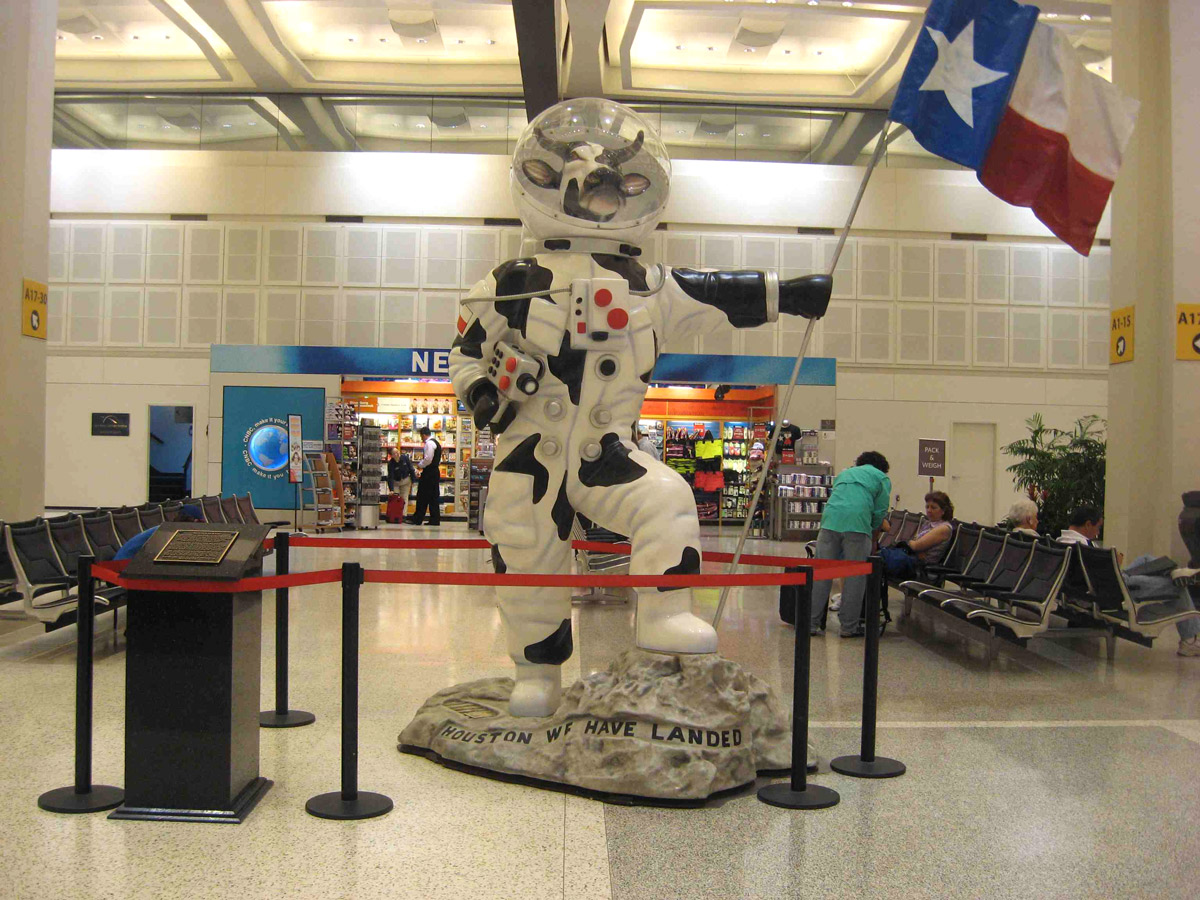 Moonwalking Cow by Silvestri - Ticketing level of Terminal A at George Bush Intercontinental Airport Houston, TX