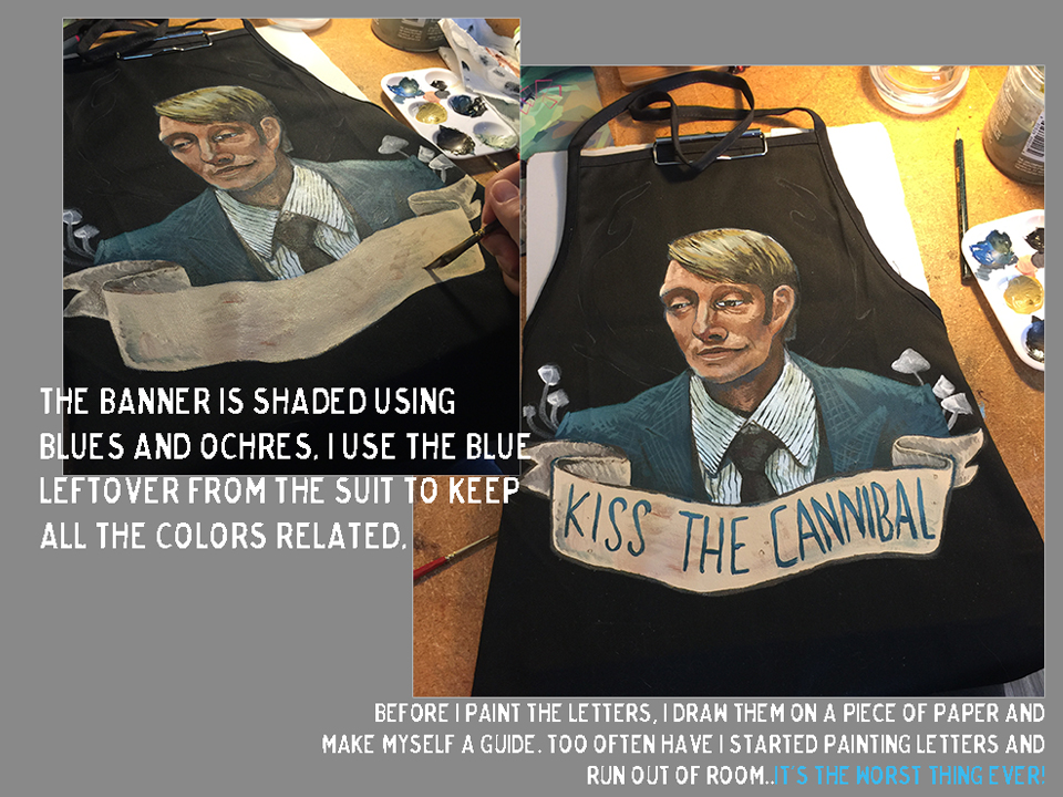 the design of Hannibal Lecter painted on the apron is starting to come together!