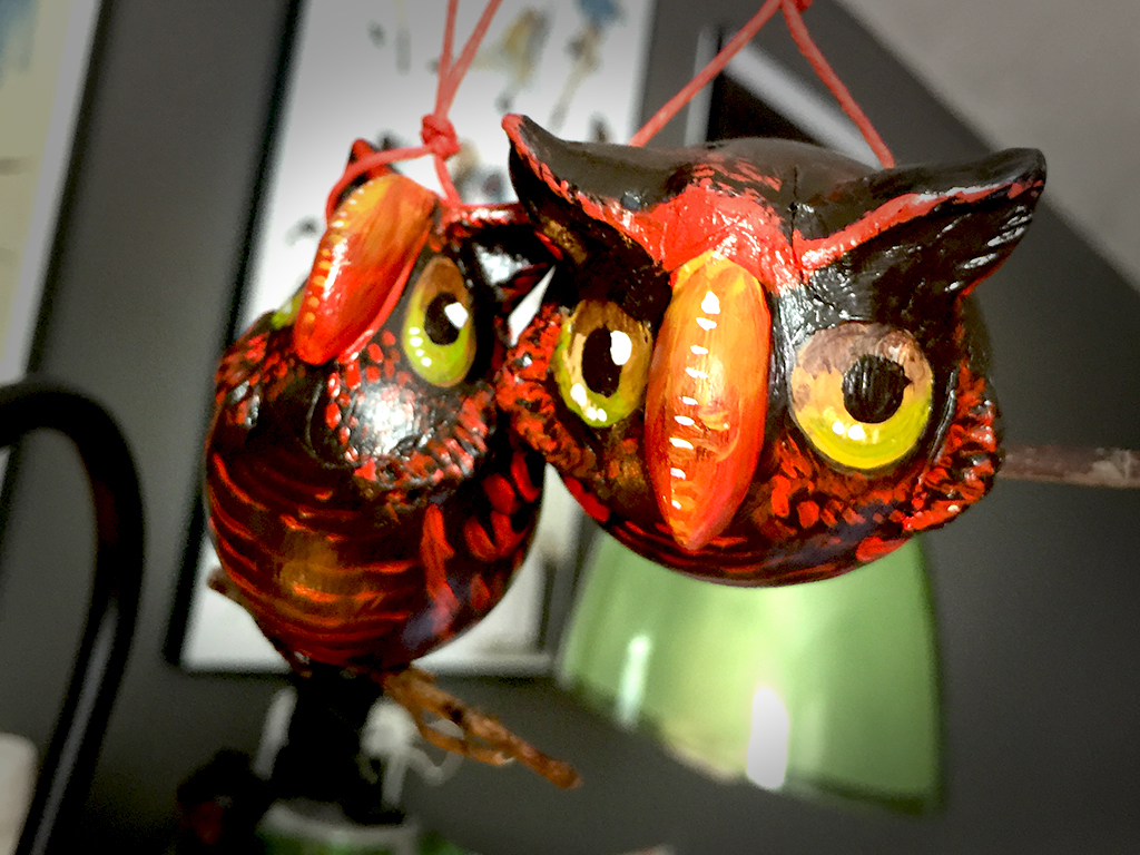 decorative gourd ornaments painted like cute little owls