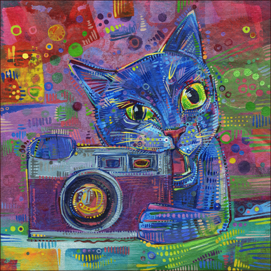 Acrylic painting of a cat and a camera, by Gwenn Seemel.