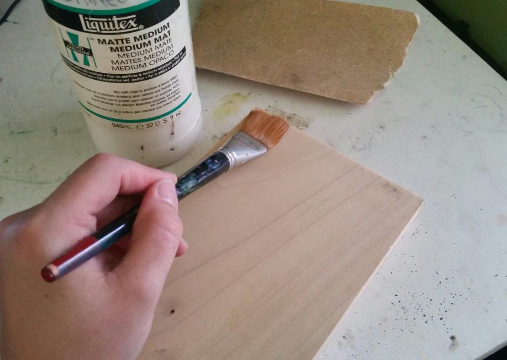 applying Liquitex Matte Medium to wood