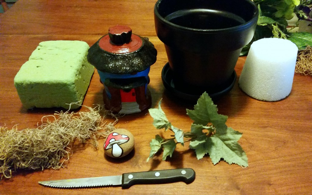 supplies for making a self-contained fairy garden