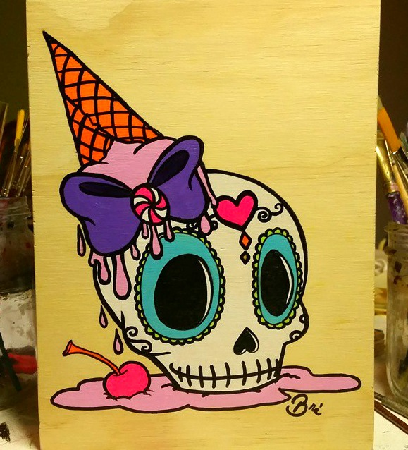 the finished ice cream sugar skull painting