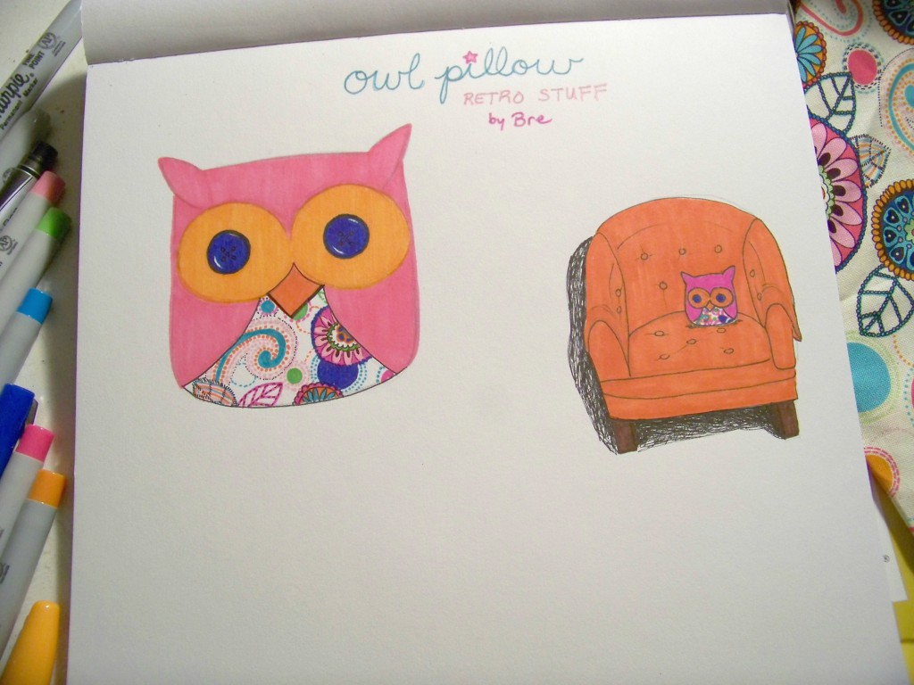 illustrated plan of a owl plushie throw pillow