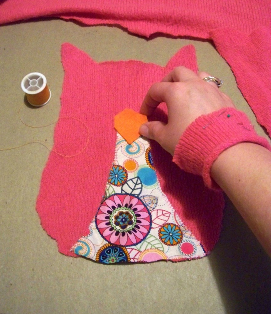 placing the beak on the front part of the owl pattern