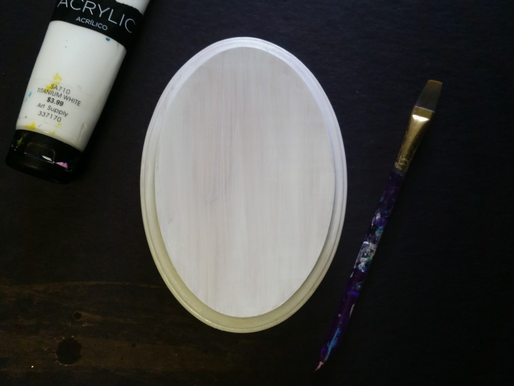 a prepped wooden plaque, about to be painted