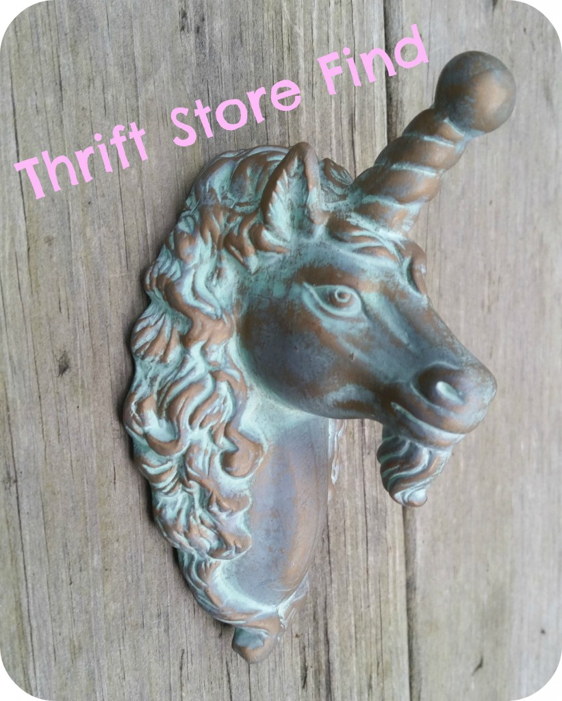 mounted unicorn head found in a thrift store