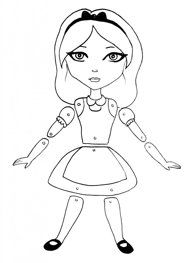 alice doll line art